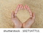 Small photo of Light yellow of fine pellet soy bean meal USA , protein and amino essential source showing in woman hand for animal feed , human food