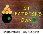 saint patrick's day. pot of... | Shutterstock . vector #1027154845