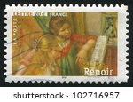 Small photo of FRANCE - CIRCA 2006: stamp printed by France, shows Impressionist Painting, Two Young Girls at the Piano, by Auguste Renoir, circa 2006