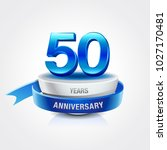 50th years blue anniversary... | Shutterstock .eps vector #1027170481