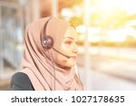 beauty woman with headset. | Shutterstock . vector #1027178635