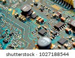 electronic circuit board close... | Shutterstock . vector #1027188544