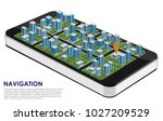 smartphone 3d with a city and a ... | Shutterstock .eps vector #1027209529