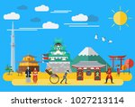 flat design  japan's icons and... | Shutterstock .eps vector #1027213114