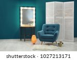 stylish interior with trendy... | Shutterstock . vector #1027213171