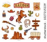 wild west vector western cowboy ... | Shutterstock .eps vector #1027215229
