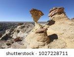 white hoodoos  chimney rock ... | Shutterstock . vector #1027228711