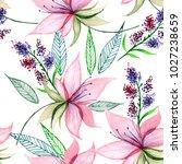 delicate watercolor flowers in ... | Shutterstock . vector #1027238659