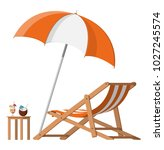 wooden chaise lounge. sun... | Shutterstock .eps vector #1027245574