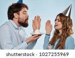 friends cheerful on a blue... | Shutterstock . vector #1027255969