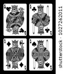set of skull playing cards | Shutterstock .eps vector #1027262011