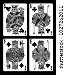 set of skull playing cards | Shutterstock .eps vector #1027262011