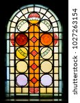 stained glass window in church... | Shutterstock . vector #1027263154