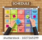 bulletin board hanging on brick ... | Shutterstock . vector #1027265299