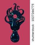 octopus with vinyl disc in... | Shutterstock .eps vector #1027266775