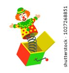 toy circus clown on a spring... | Shutterstock .eps vector #1027268851