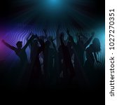 silhouette of a disco crowd on...   Shutterstock .eps vector #1027270351