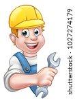 a plumber or builder contractor ...   Shutterstock .eps vector #1027274179