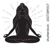 black and white yoga poster... | Shutterstock .eps vector #1027289317