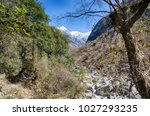 trekking in nepal for health... | Shutterstock . vector #1027293235
