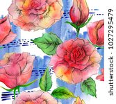 bright watercolor roses. can... | Shutterstock . vector #1027295479