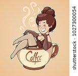 beautiful girl sit in coffee... | Shutterstock .eps vector #1027300054