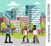 skaters get in trouble with... | Shutterstock .eps vector #1027302589