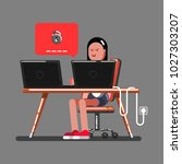 girl hacker cant hack | Shutterstock .eps vector #1027303207