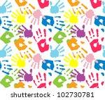 kid's and mother's handprint ...   Shutterstock .eps vector #102730781