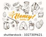 honey sketches set  bee hive ... | Shutterstock .eps vector #1027309621