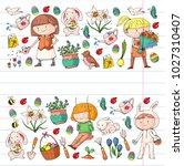 spring children banners kids... | Shutterstock .eps vector #1027310407