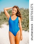 portrait of attractive woman in ... | Shutterstock . vector #1027311271