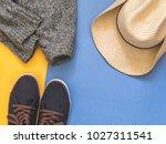 flat lay traveler accessories... | Shutterstock . vector #1027311541