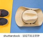 flat lay traveler accessories... | Shutterstock . vector #1027311559