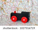 locomotive on the map | Shutterstock . vector #1027316719