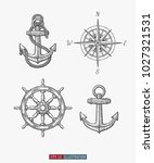 hand drawn sea symbols set.... | Shutterstock .eps vector #1027321531