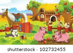 farm panorama with pigs | Shutterstock . vector #102732455