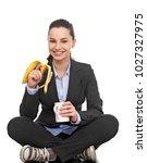 careless businesswoman on white   Shutterstock . vector #1027327975