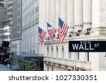 wall street sign with american... | Shutterstock . vector #1027330351