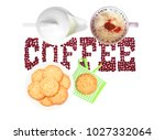 cappuccino  melk and colorful ...   Shutterstock . vector #1027332064