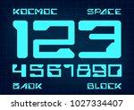 futuristic font. cosmic font.... | Shutterstock .eps vector #1027334407