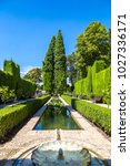 gardens and fountains in... | Shutterstock . vector #1027336171
