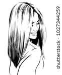 smiling women with short bob... | Shutterstock .eps vector #1027344259