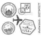 decorative stamps and postal... | Shutterstock . vector #1027345177