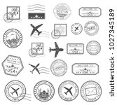 post stamps. set of black... | Shutterstock . vector #1027345189