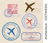 decorative colored stamps and... | Shutterstock . vector #1027345201