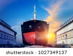 container ship under repair at... | Shutterstock . vector #1027349137