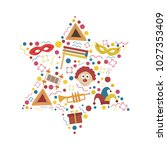 purim holiday flat design icons ... | Shutterstock .eps vector #1027353409