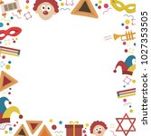 frame with purim holiday flat... | Shutterstock .eps vector #1027353505