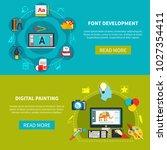 two designer tools flat banner... | Shutterstock . vector #1027354411